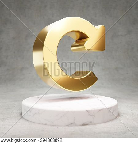 Redo Icon. Gold Glossy Recycle Symbol On White Marble Podium. Modern Icon For Website, Social Media,