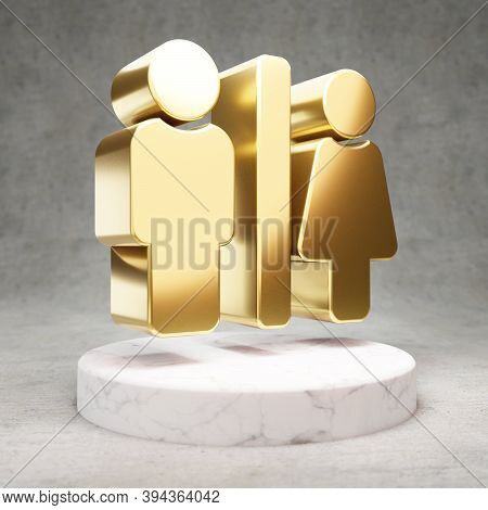 Restroom Icon. Gold Glossy Restroom Symbol On White Marble Podium. Modern Icon For Website, Social M
