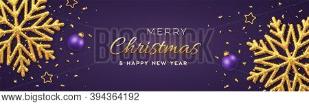 Christmas Purple Background With Shining Golden Snowflakes, Gold Stars And Balls. Merry Christmas Gr