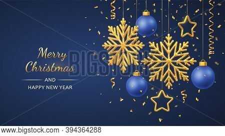 Christmas Blue Background With Hanging Shining Golden Snowflakes, 3d Metallic Stars And Balls. Merry