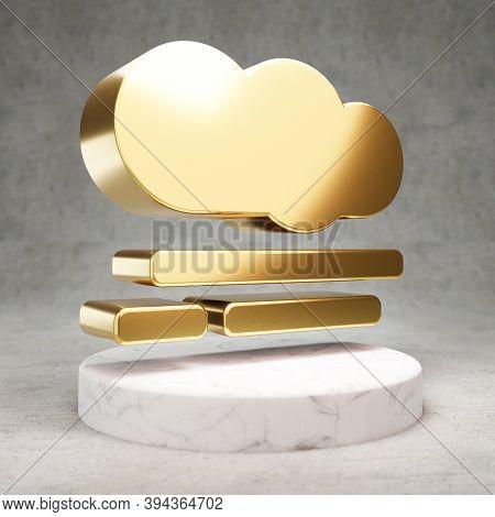 Smog Icon. Gold Glossy Smog Symbol On White Marble Podium. Modern Icon For Website, Social Media, Pr