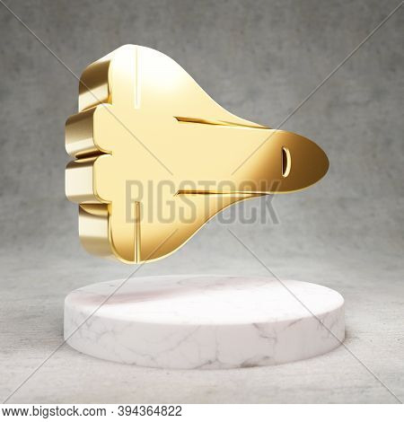 Space Shuttle Icon. Gold Glossy Space Shuttle Symbol On White Marble Podium. Modern Icon For Website