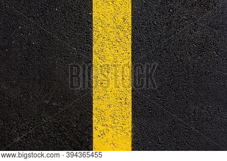 Texture Tarmac Highway Road Surface With Yellow Marking Smooth Dark Gray Asphalt With Copy Space Clo
