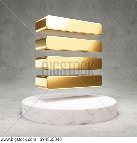 Text Align Justify Icon. Gold Glossy Text Align Justify Symbol On White Marble Podium. Modern Icon F