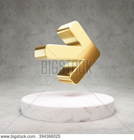 Arrow Right Icon. Gold Glossy Arrow Right Symbol On White Marble Podium. Modern Icon For Website, So