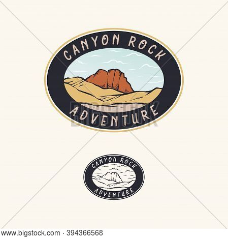 Nature Canyon And Hill Range Retro Badge Vector Design Template