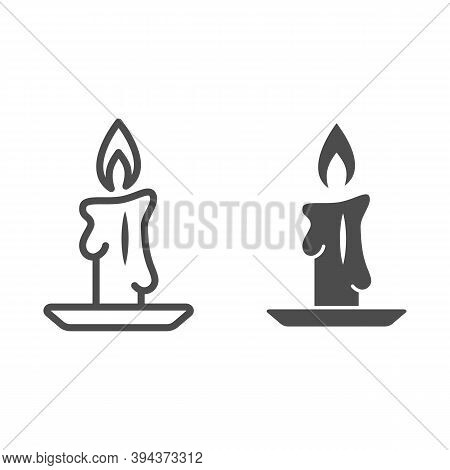 Burning Candle Line And Solid Icon, New Year Concept, Candle Sign On White Background, Burning Candl