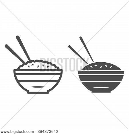 Rice Bowl And Chopsticks Line And Solid Icon, Chinese Or Japanese Cuisine Concept, Plate Of Food Sig