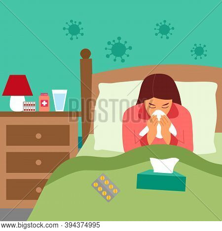 Woman Suffering From Flu In Bed Under Blanket. Sad Girl Has Fever And Sneezing In Handkerchief Or Ti