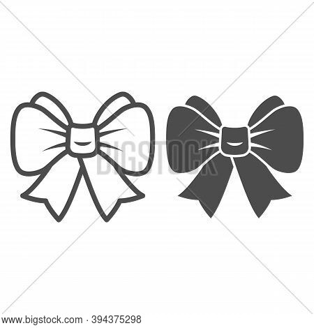 Festive Bow Line And Solid Icon, New Year Concept, Christmas Bow Sign On White Background, Ribbon Bo
