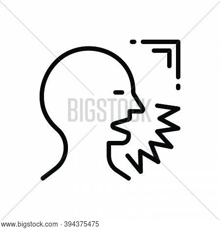 Black Line Icon For Sound Shout Shout Exclaim Scream Bawl Holler Speak Voice