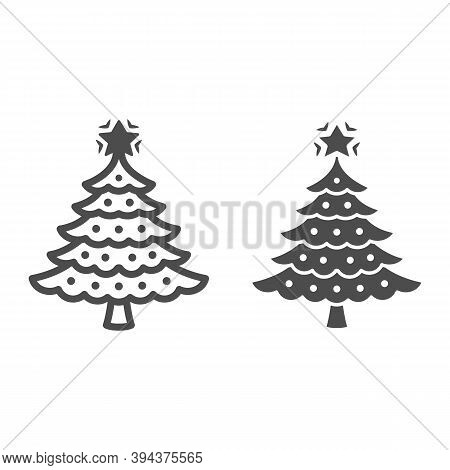 Christmas Tree Line And Solid Icon, New Year Concept, Fir-tree Sign On White Background, Christmas T