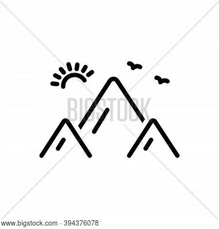 Black Line Icon For Mount Hill Climbing Everest Himalaya Landscape Nature Rock