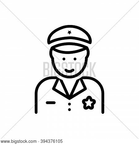 Black Line Icon For Police The-law Force Guard Secure Enforcer Policeman Cop Protect Security Safety