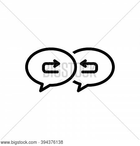 Black Line Icon For Response Arrow Return Respond Repercussion Acknowledge Answer Communication Inte