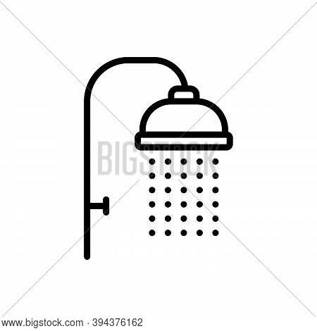 Black Line Icon For Shower Sprinkling Downpour Shower-bath Washup Bathing Droplet Hygiene Cleanlines