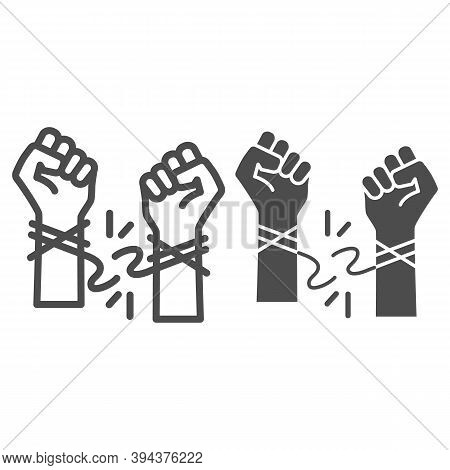 Hands Tore The Rope Line And Solid Icon, Life Without Addiction Concept, Anti Drug, Alcohol, Smoking