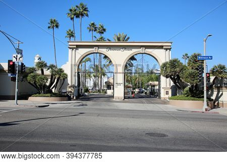 Hollywood, California / USA - November 10, 2020: Paramount Pictures Studio Entrance. Paramount Pictures creates Movies, Television Programs, and more. Editorial
