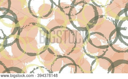 Creative Hand Drawn Circles Geometry Fabric Print. Circular Stain Overlapping Elements Vector Seamle