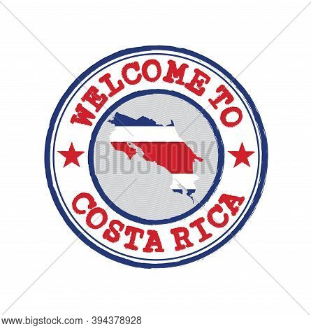 Vector Stamp Of Welcome To Costa Rica With Map Outline Of The Nation In Center. Grunge Rubber Textur