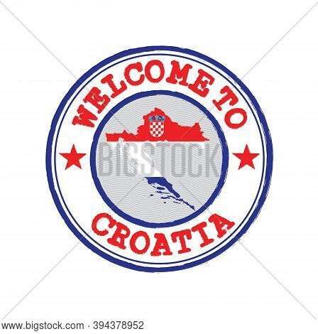 Vector Stamp Of Welcome To Croatia With Map Outline Of The Nation In Center. Grunge Rubber Texture S