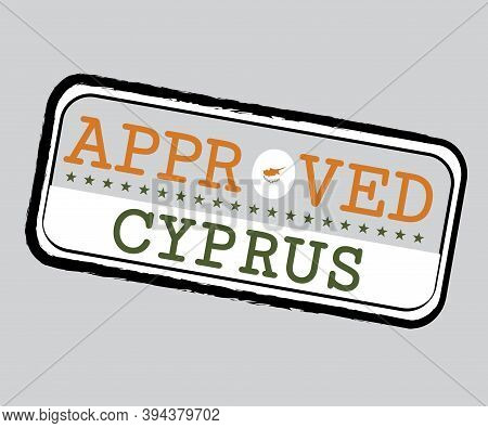 Vector Stamp Of Approved Logo With Cyprus Flag In The Shape Of O And Text Cyprus. Grunge Rubber Text