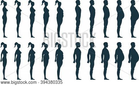 Black View Side Body Silhouette, Fat Extra Weight Female, Male Anatomy Human Character, People Dummy