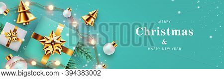 Xmas Modern Design With 3d Realistic Golden Turquoise Gift, Pine, Golden Conical Christmas Tree, Bal