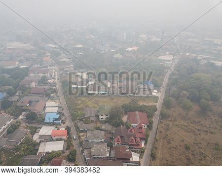Bad Air-pollution (pm2.5) Covered Chiang Rai Town, The Northern Province In Thailand. Pm2.5 Levels M