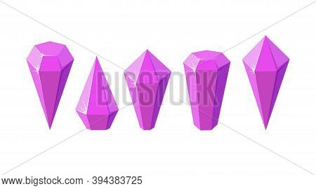 Pink Crystal Stones Like Amethyst Quartz. Set Of Geometric Gems Or Glass Crystals For Games And Othe