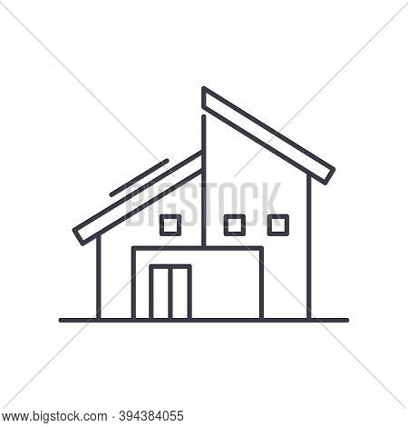 Semi Detached Cottage Icon, Linear Isolated Illustration, Thin Line Vector, Web Design Sign, Outline