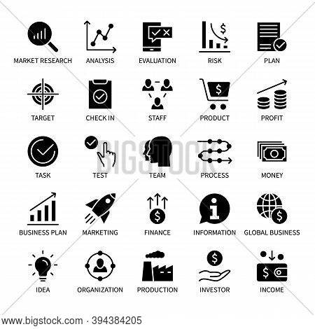 Business And Finance Management, Vector Silhouette Icons Set. Task Target Idea Information Income Ma