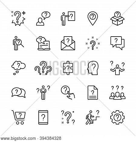 Questions And Tasks, Ask And Think, Vector Linear Icons Set. Contains Icons Such As Doubt, Difficult