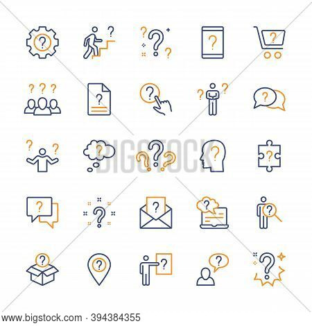 Questions And Tasks, Ask And Think, Vector Color Linear Icons Set. Contains Icons Such As Difficulty
