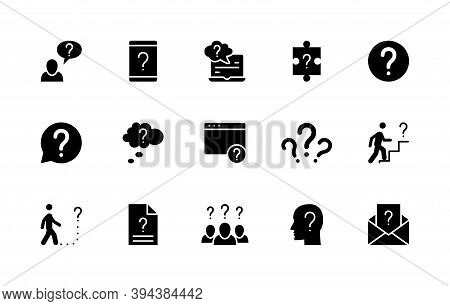 Silhouette Set Of Question Related Vector Icons. Contains Icons Such As Problem, Mystery, Task, Puzz