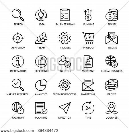 Business And Finance Management, Vector Linear Icons Set. Money Search Idea Income Marketing Time Te