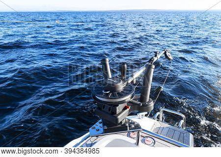 Fishing Equipment On Boat. Downrigger Boat Gear For Trolling.  Fishing Boat With Down Rigger Trollin