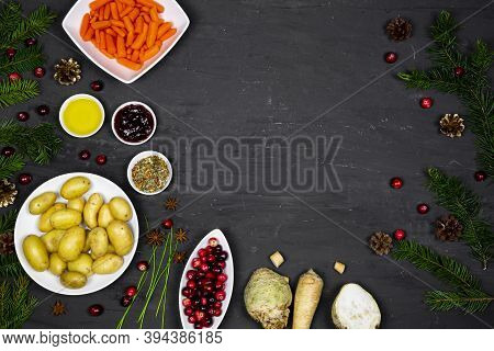 Christmas Dinner Preparation, Fresh Root Vegetables On Fesitive Background, Copy Space For Text.