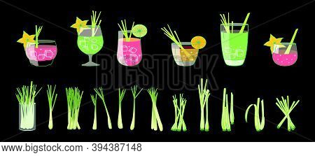 Set Of Juice With Lemongrass. Cartoon Icon Design Template With Various Models. Modern Vector Illust