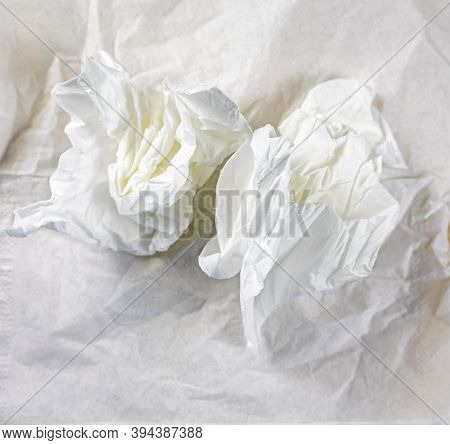 Crumpled White Napkins Lie On A Crumpled Table Napkin, Elongated Format