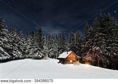 Christmas Tree Decorations. Christmas Tree With Lights. Christmas Tree At Night