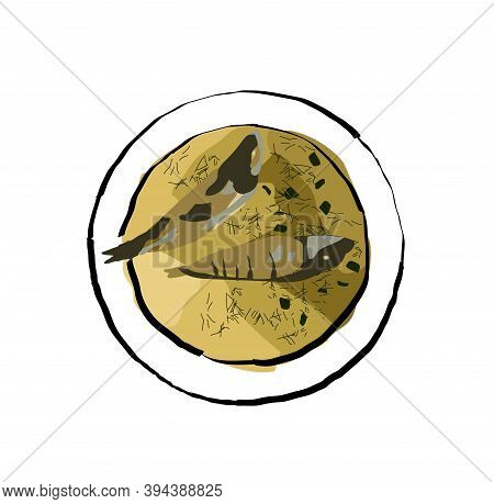Fish Soup With Ruff And Perch, With Dill And Onions, Is Called Ukha. Vector Illustration. Flat.