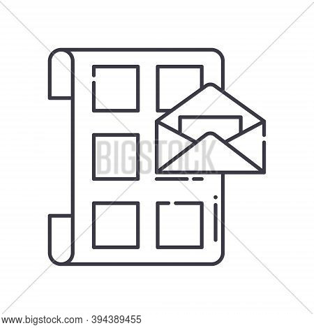 Mail Shedule Icon, Linear Isolated Illustration, Thin Line Vector, Web Design Sign, Outline Concept