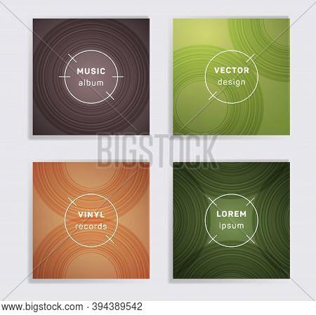 Retro Vinyl Records Music Album Covers Set. Semicircle Curve Lines Patterns. Flat Creative Vinyl Mus