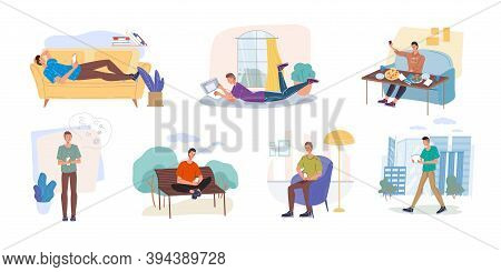 Set Of Cartoon Flat Characters Surfing Internet Indoor And Outdoor-different Poses, Places, People,