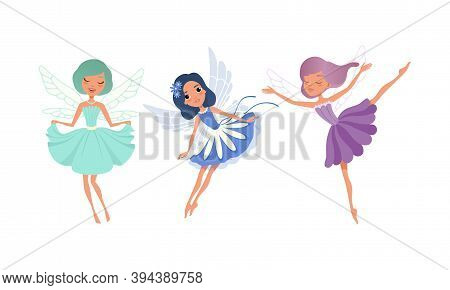 Cute Girl Fairies With Wings Set, Adorable Girls Flying In Colorful Pretty Blue And Purple Dresses C