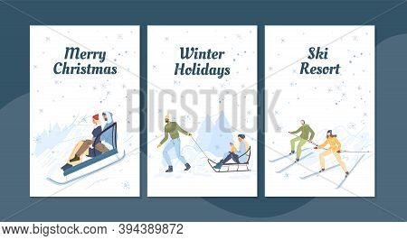 Flat Cartoon Family Characters Doing Winter Outdoor Activities, Skiing And Sledging In Snow, Merry C