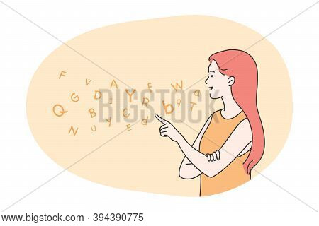 Education, Teaching, Speech Therapy Concept. Happy Woman Therapist Teacher Cartoon Character Articul