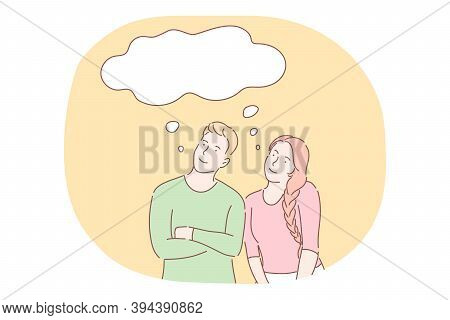 Thinking, Ideas, Thought, Imagination Concept. Young Smiling Couple Cartoon Characters Standing And
