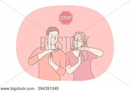 Stop, Prohibiting Gesture And Sign Concept. Young Serious Couple Cartoon Characters Showing Stop Pro
